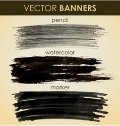 Set of hand drawn banners vector