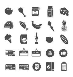 Supermarket Food Selection Icons Set vector image