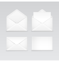 Set of white blank envelopes isolated vector