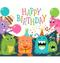 Happy Birthday Monsters vector image