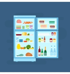Refrigerator with food icons flat style vector
