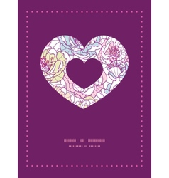 Colorful line art flowers heart symbol frame vector