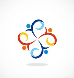People swirl circle diversity logo vector