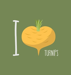I love turnips heart of yellow turnips vector