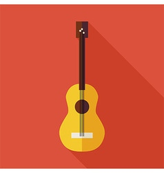 Flat music string guitar with long shadow vector