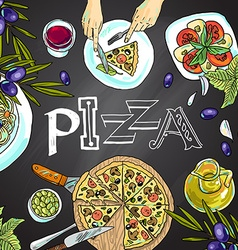 chalk board with italian food vector image