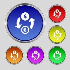 Currency exchange icon sign round symbol on bright vector