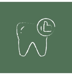 Healthy tooth icon drawn in chalk vector