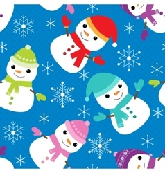 Pattern with snowmen vector
