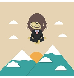 189business man meditation vector