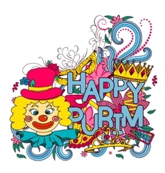 Purim hand drown background vector