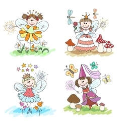 Little fairy children drawings vector