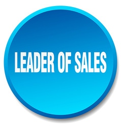 Leader of sales blue round flat isolated push vector