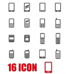 Grey mobile phone icon set vector