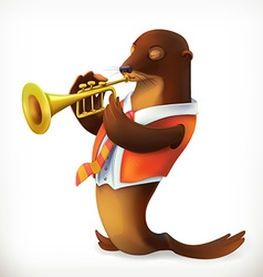 Seal playing trumpet funny character mesh vector