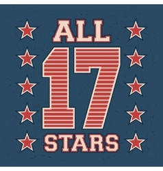 All stars vintage stamp vector