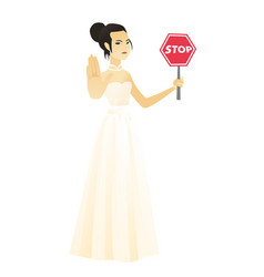 Asian fiancee holding stop road sign vector