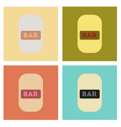 Assembly flat icons poker bar sign vector