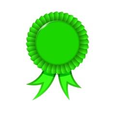 Award green ribbon vector