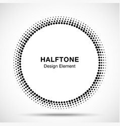 Black abstract circle frame halftone dots logo vector