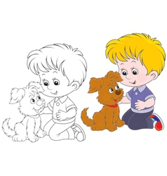 Boy and pup vector
