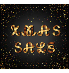christmas sale gold sign on black background vector image vector image