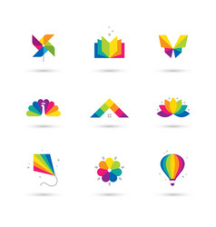 colorful icons set on white background vector image vector image