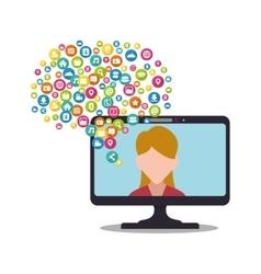 computer screen girl socila media bubble vector image