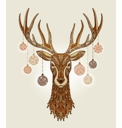 Decorative christmas deer with ornament and vector