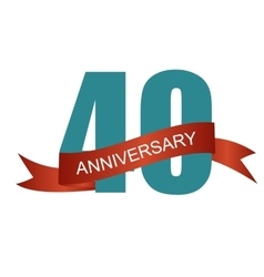 Forty 40 Years Anniversary Label Sign for your vector image