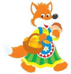 Fox mushroomer vector image