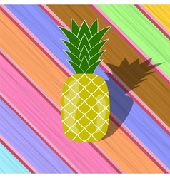 Fresh ripe pineapple on colorful planks vector