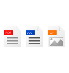 Gif pdf and doc file format icon set vector