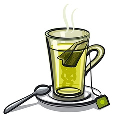 glass of green tea vector image vector image