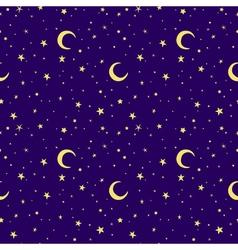 Golden yellow moon and stars sky print seamless vector
