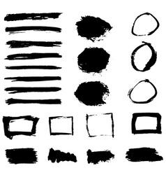 Grunge paint watercolor ink texture elements set vector