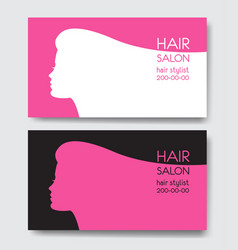 hair salon business card templates with beautiful vector image vector image
