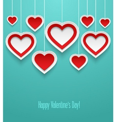 Hanging valentines hearts vector image