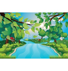 Hills and River vector image