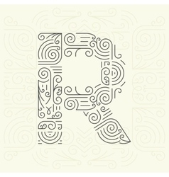 Letter R Golden Monogram Design element vector image