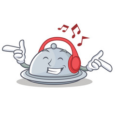 Listening music tray character cartoon style vector