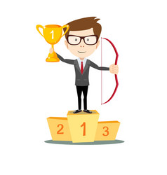 man proudly standing holding up winning trophy vector image