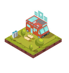 mobile home isometric composition vector image vector image