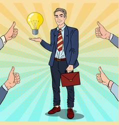 Pop art businessman with creative idea light bulb vector