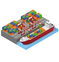 Port Town and Barge Ship Isometric View vector image vector image