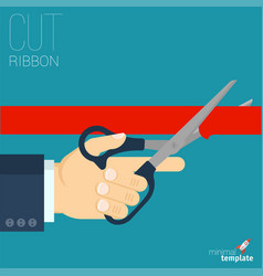 red ribbon cutting vector image vector image