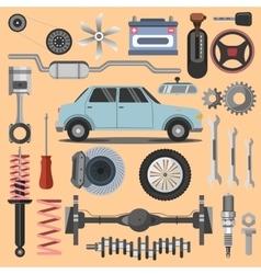 Repair of machines and equipment flat vector