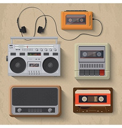 Retro music player icon set vector image vector image