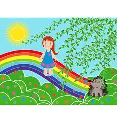 Small girl on the rainbow in sunny summer day vector