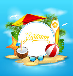 summer background with sea island beach vector image vector image